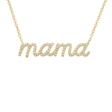 14K Yellow Diamond Mama Script Necklace