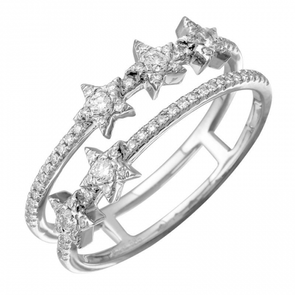 14K White Gold Diamond Star Double Row Ring