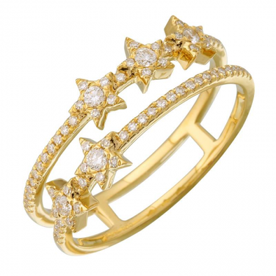 14K Yellow Gold Diamond Star Double Row Ring