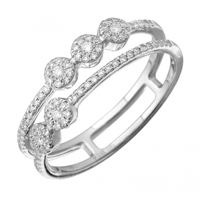 14K White Gold Diamond Halo Double Row Ring