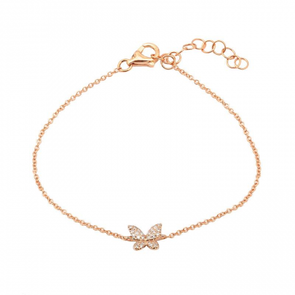 14K Rose Gold Butterfly Diamond Bracelet