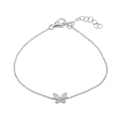 14K White Gold Butterfly Diamond Bracelet