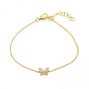 14K Yellow Gold Butterfly Diamond Bracelet