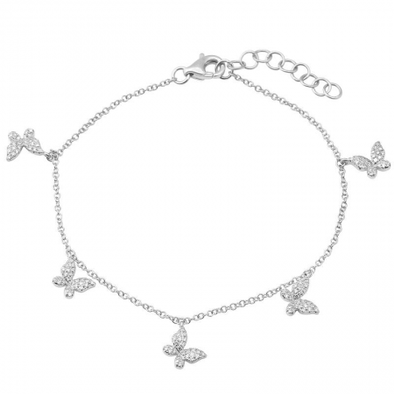 14K White Gold Diamond Butterfly Dangle Bracelet