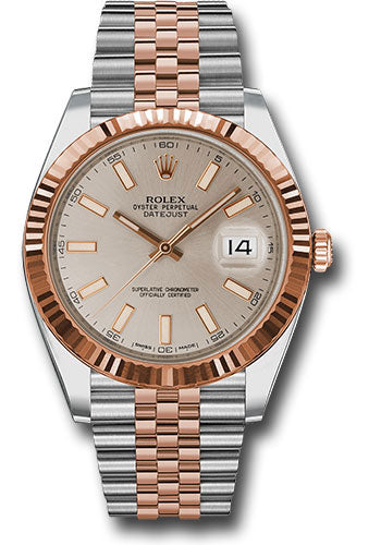 Rolex 41Mm Oystersteel & 18K Everose Gold Datejust Watch