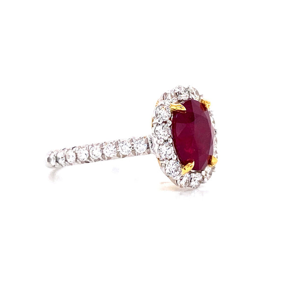 18K White & Yellow Gold Diamond + Oval Ruby Ring