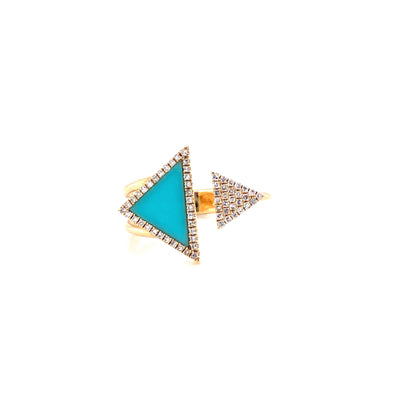 14K Yellow Gold Diamond + Turquoise Triangle Open Cuff Ring