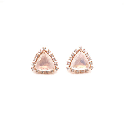 14K Rose Gold Diamond and Trillion Moonstone Earrings