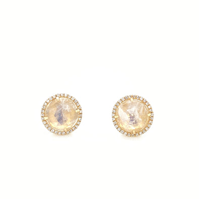 14K Yellow Gold Round Diamond + Round Moonstone Earrings