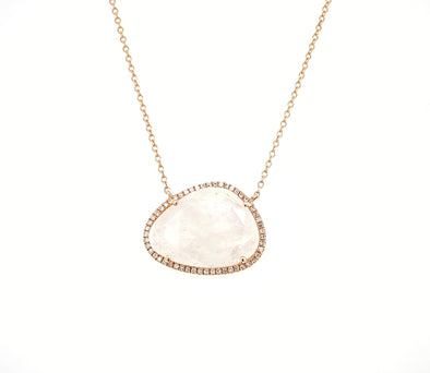 14K Rose Gold Round Diamond + Moonstone Freeform Necklace
