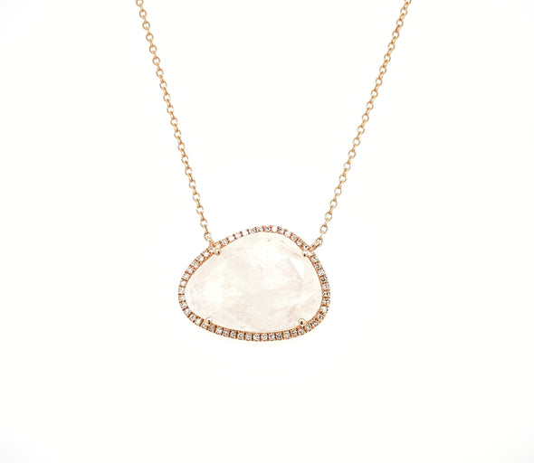 14K Yellow Gold Round Diamond + Moonstone Freeform Necklace