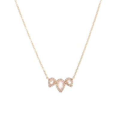 14K Rose Gold Round Diamond + Pear Shape Moonstone Necklace