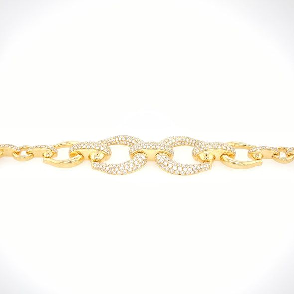 18K Yellow Gold Diamond Horsebit Link Bracelet- ****FLASH SALE****