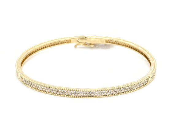 14K Yellow Gold Diamond Pave Bangle