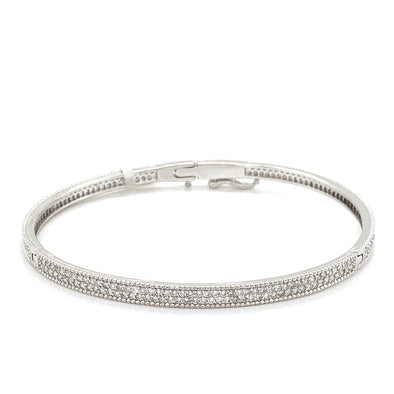 14K White Gold Diamond Pave Bangle