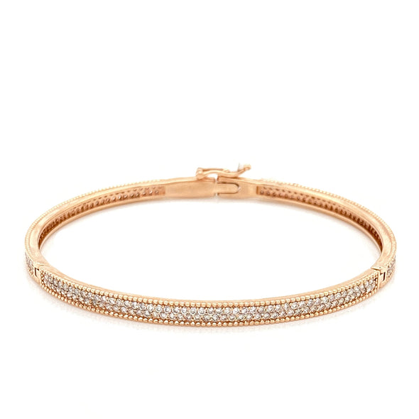 14K Rose Gold Diamond Pave Bangle