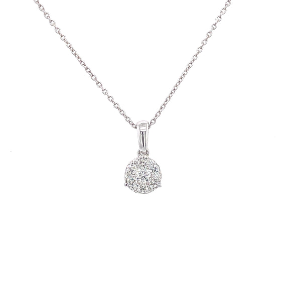 14K White Gold Diamond Cluster Small Necklace