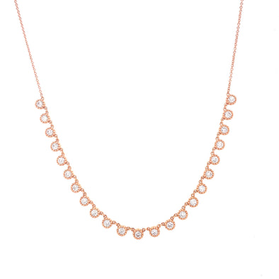 14K Rose Gold Diamond Choker Adjustable Necklace