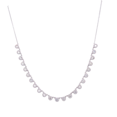 14K White Gold Diamond Choker Adjustable Necklace