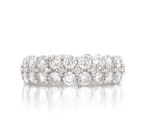 14K White Gold Diamond Double Row Band