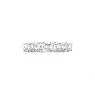 14K White Gold Diamond Bezel Milgrain Eternity Band