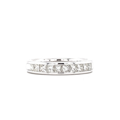 14K White Gold Princess Cut Diamond Halfway Band