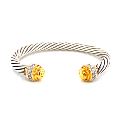 18K Yellow Gold + Sterling Silver + Diamond Cable Open Bangle