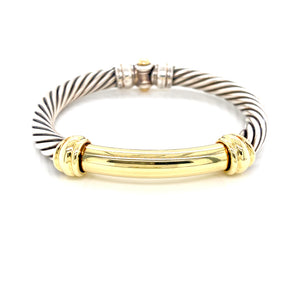 14K Yellow Gold + Sterling Silver Metro Bangle