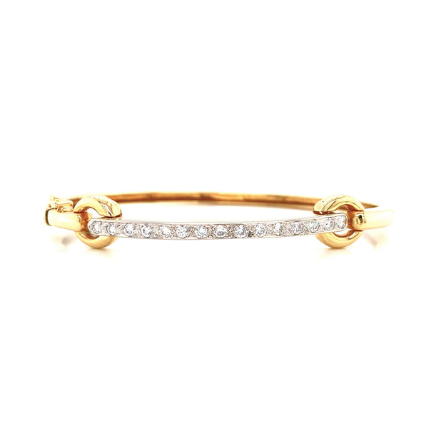 14K Yellow Gold Diamond Bar Bangle