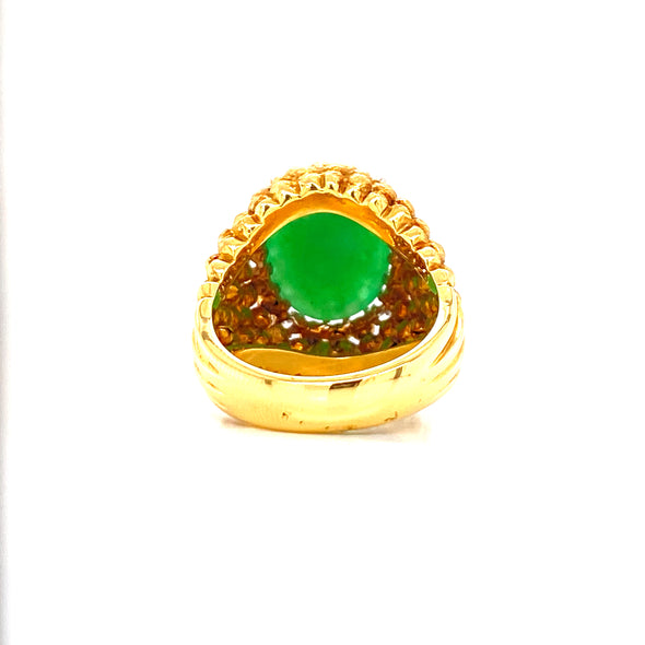 18K Yellow Gold Diamond + Jadeite Domed Ring