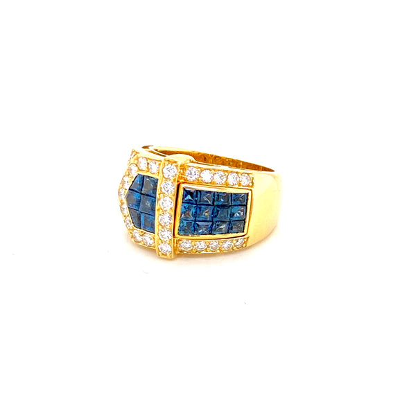 18K Yellow Gold Diamond + Sapphire Ring