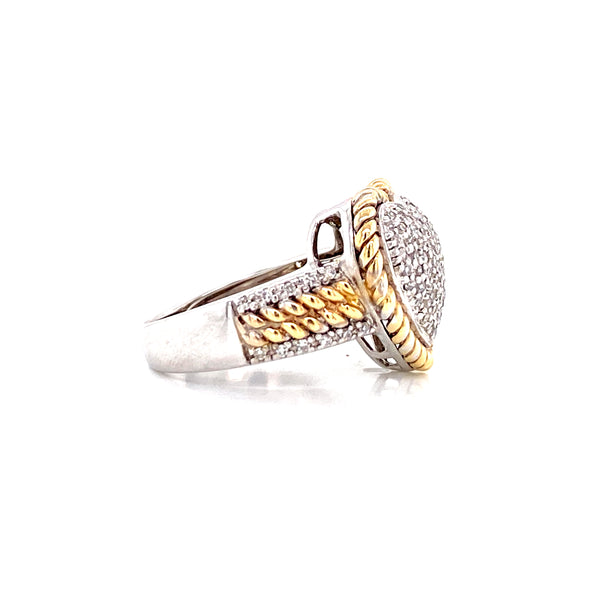 14K Two Tone Gold Diamond Pave Heart Ring