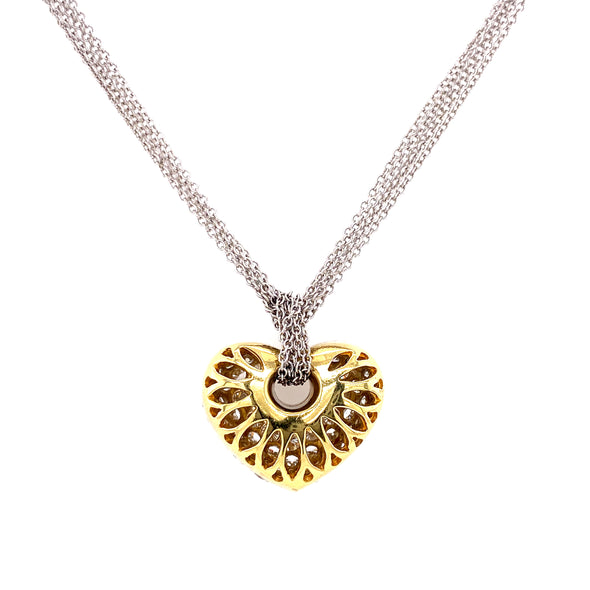 18K White & Yellow Diamond Puffed Heart Pendant + Multi Cable Chain
