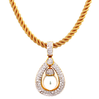 18K Yellow Gold Diamond Pearl Drop Pendant