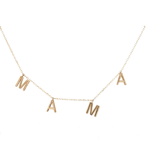 14K Yellow Gold Mama Dangle Necklace