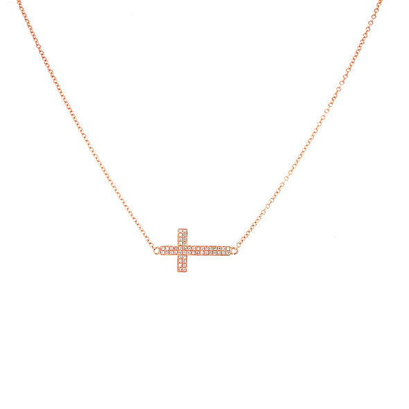 14K Rose Gold Diamond Cross Horizontal Necklace