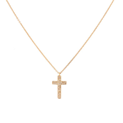 14K Yellow Gold Pave Cross Necklace