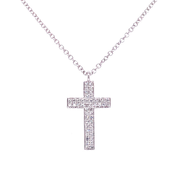 14K Yellow Gold Diamond Pave Cross Necklace