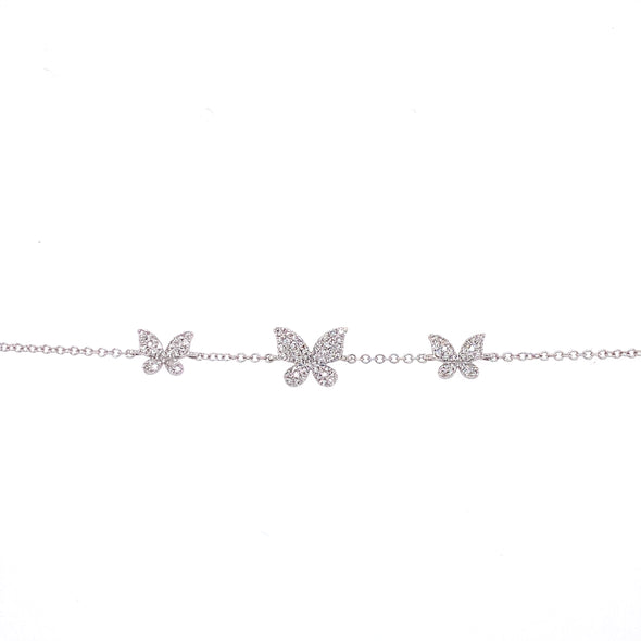 14K White Gold Diamond Triple Butterfly Bracelet