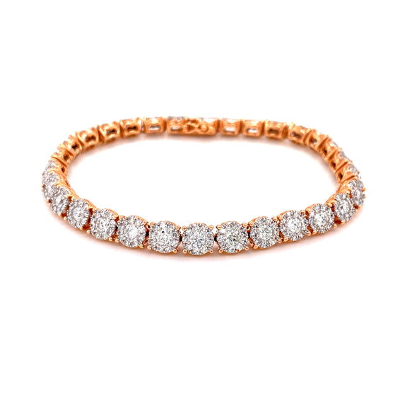 14K Rose Gold Diamond Cluster Tennis Bracelet