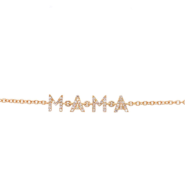 "14K Yellow Gold Diamond ""Mama"" Bracelet"