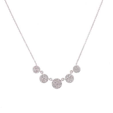 14K White Gold Diamond Disc Necklace