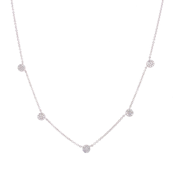 14K White Gold Diamond Mini Disc By The Yard Necklace