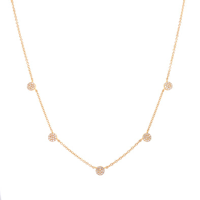 14K Yellow Gold Diamond Mini Disc By The Yard Necklace