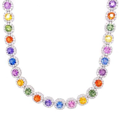 18K White Gold Diamond + Multi Sapphire Necklace