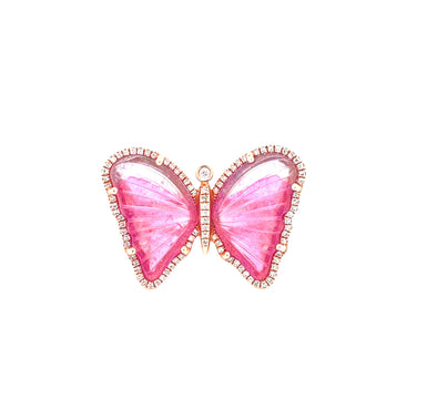 14K Rose Gold Diamond + Pink Tourmaline Butterfly Ring