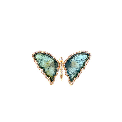 14K Yellow Gold Diamond + Green Tourmaline Butterfly Ring