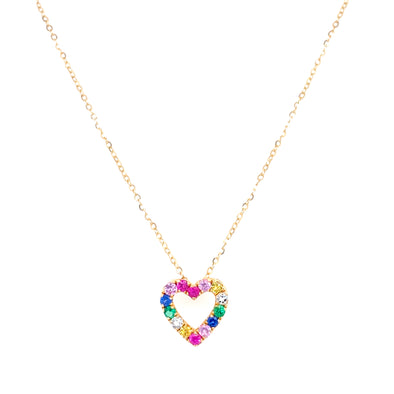 14K Yellow Gold Diamond Multi Gemstone Open Heart Necklace