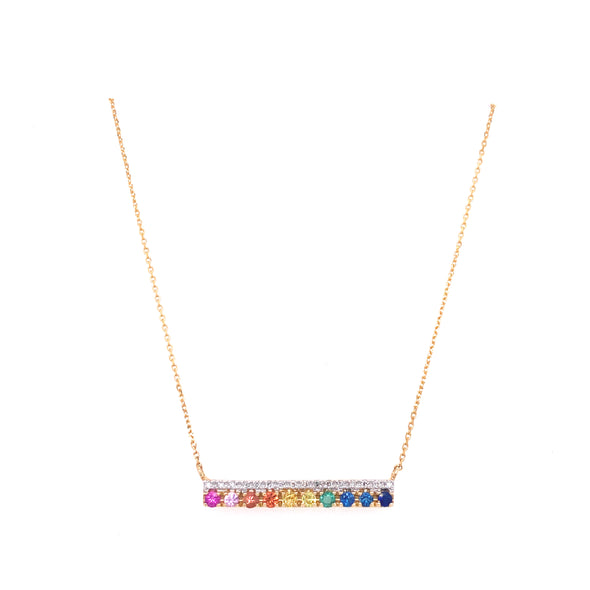 14K Yellow Gold Diamond Multi Sapphire Bar Necklace