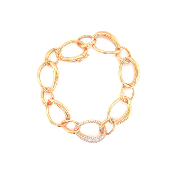 18K Rose Gold Diamond Link Bracelet